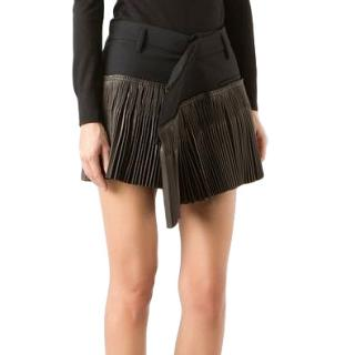 Haider Ackermann asymmetric black pleated mini skirt