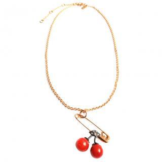 Alexis Bittar cherry-pendant gold necklace