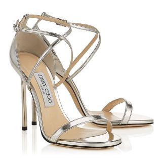 Jimmy Choo Silver Mirror Hesper 85 Sandals
