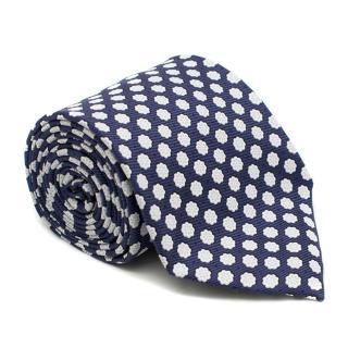 Ermenegildo Zegna Blue Floral Print Silk Tie