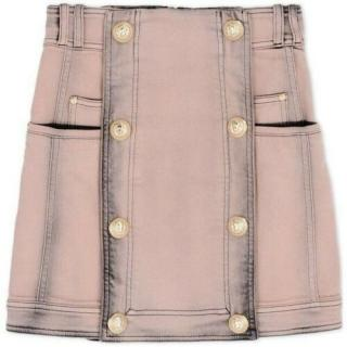 Balmain Washed Pink Denim Mini Skirt