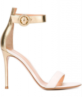 Gianvito Rossi Portofino 105 white & gold leather sandals