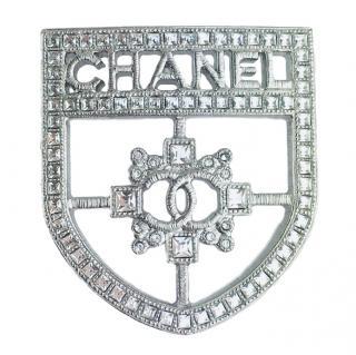 Chanel Silver-Tone Crystal Badge Brooch