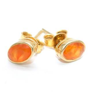 Bespoke Orange Gemstone Gold Studded Earrings