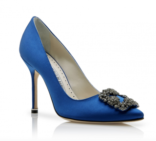 Manolo Blahnik Blue Satin Hangisi Pumps