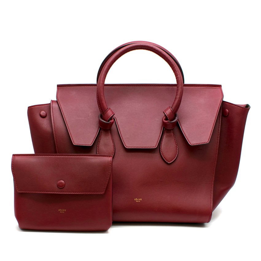 Celine Red Smooth Calfskin Tie Knot Tote Bag