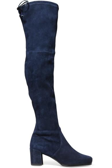Stuart Weitzman Hinterland OTK Suede Blue Boots