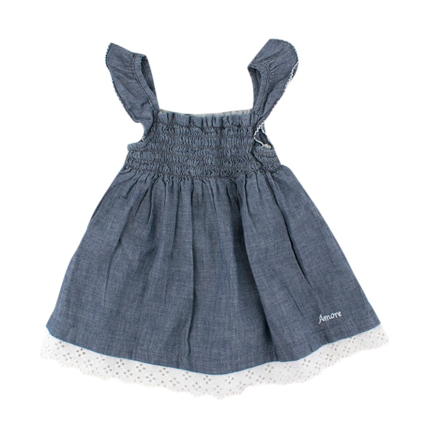 Amore Amore Girls 3 Years Gathered Laced Denim Dress