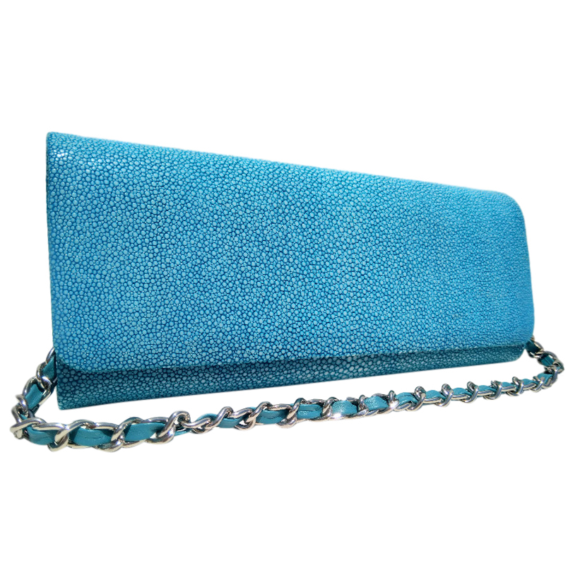 Turquoise stingray clutch bag