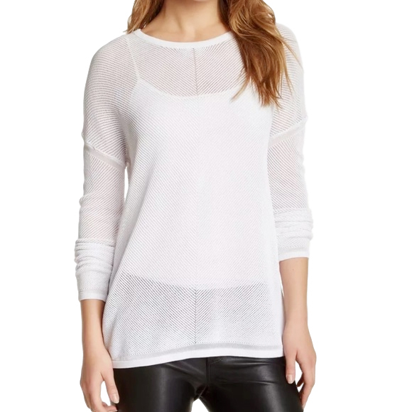 Vince white mesh-knit sweater