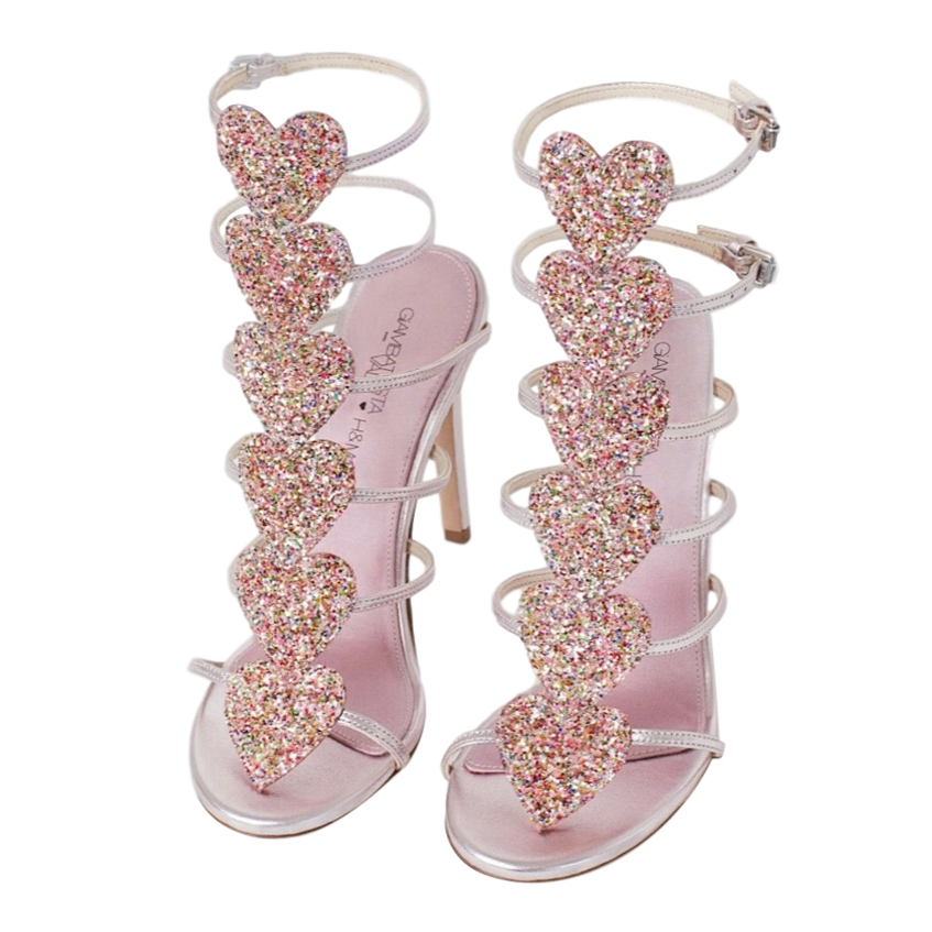 Giambattista Valli x H&M Pink Metallic Glitter Heart Sandals