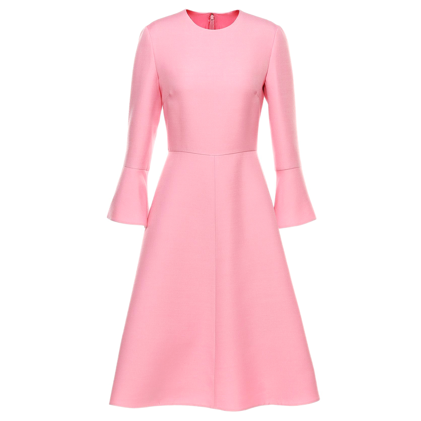 Valentino Pink Crepe Ruffle Sleeve Dress