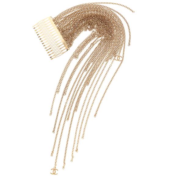 Chanel vintage chain-tassel hair comb
