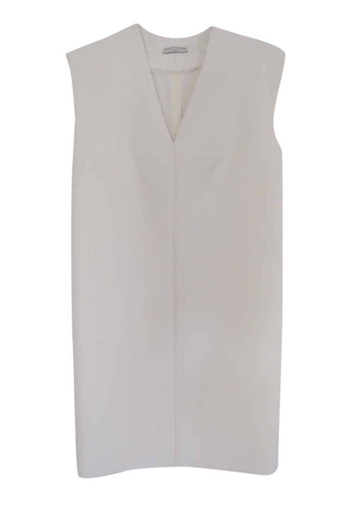 Balenciaga Cream Sleeveless Shift Dress