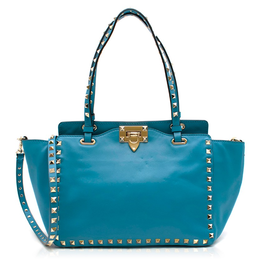 Valentino Garavani Blue Rockstud Tote Bag