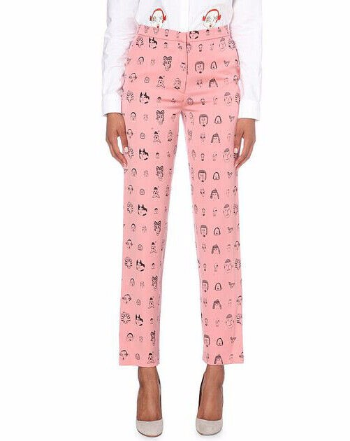 Shrimps Pink Andre Face Print Wide-leg Trousers