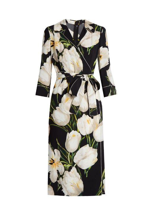 Dolce & Gabbana Tulip-print cady dress