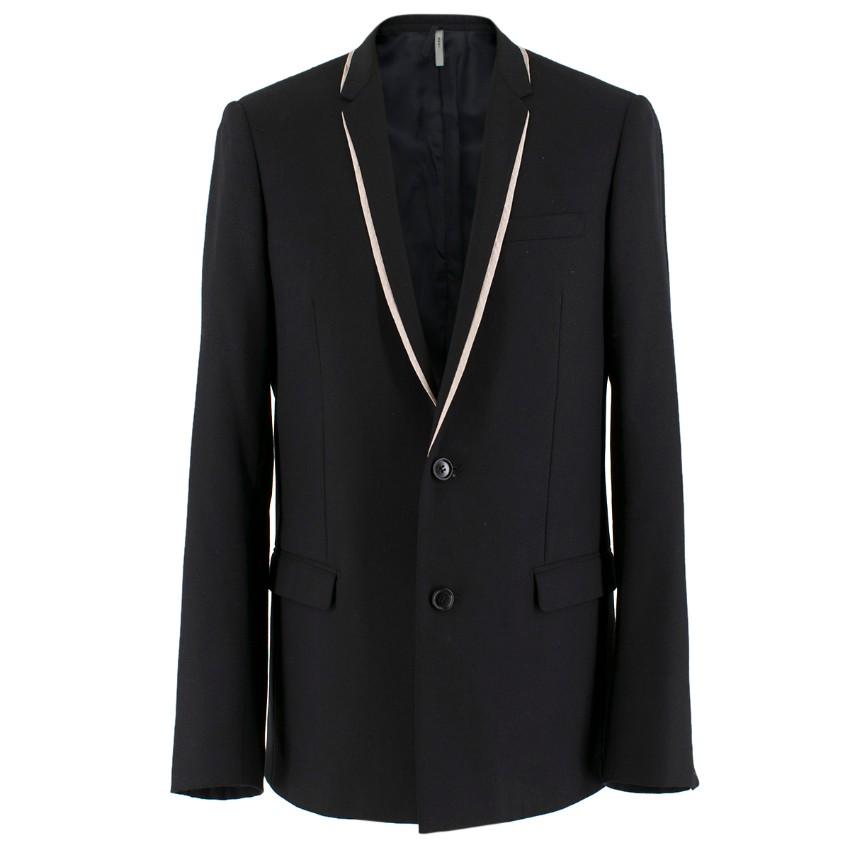 Dior Men's Black Single-breasted Blazer W/ White Trim