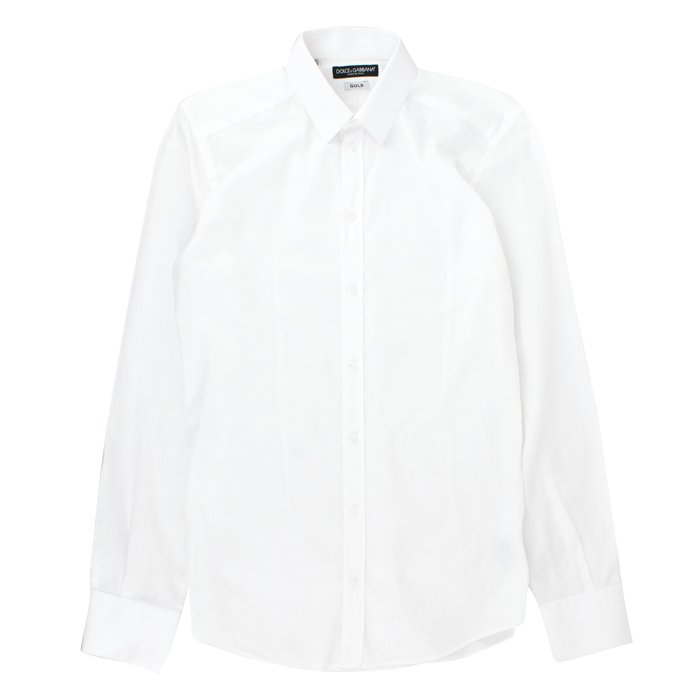 Dolce & Gabbana Gold-fit White Textured Shirt