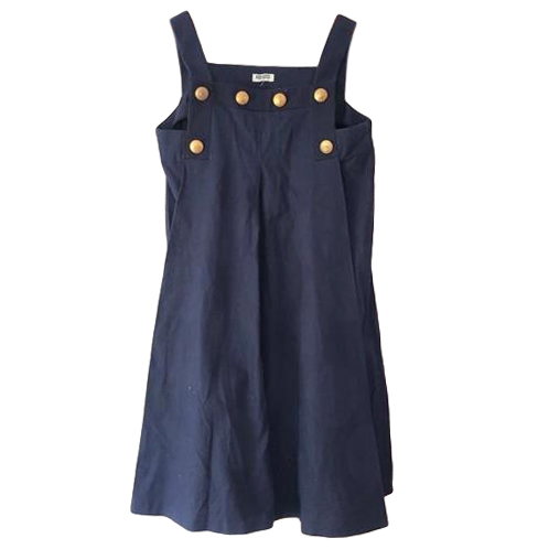 Kenzo Navy Jacquard Pinafore Dress