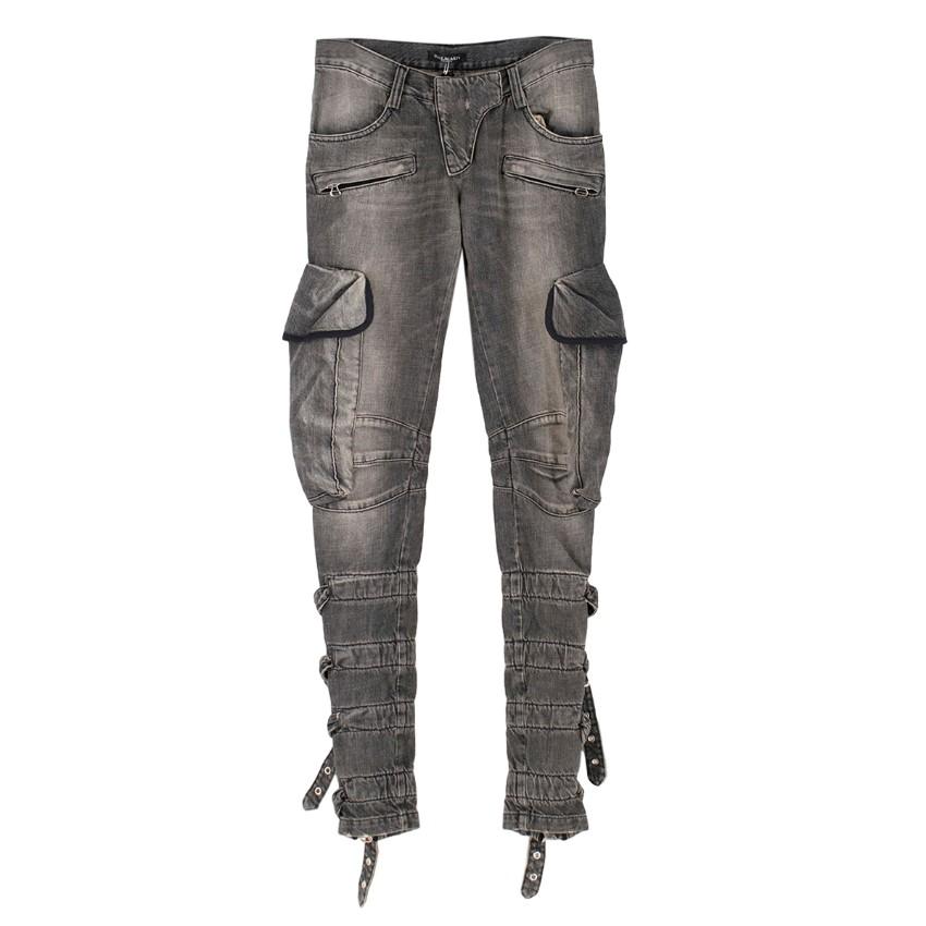 Balmain Grey Buckle Detailed Jeans