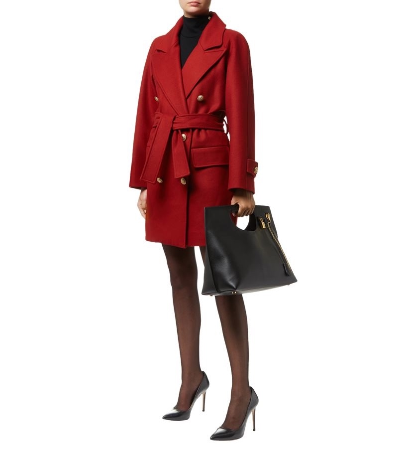 Balmain Red Wool Wrap coat