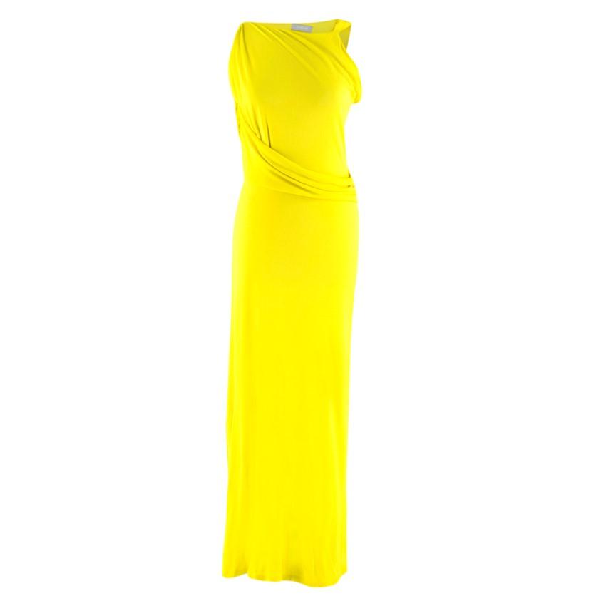 Osman Yellow Draped High Neck Gown