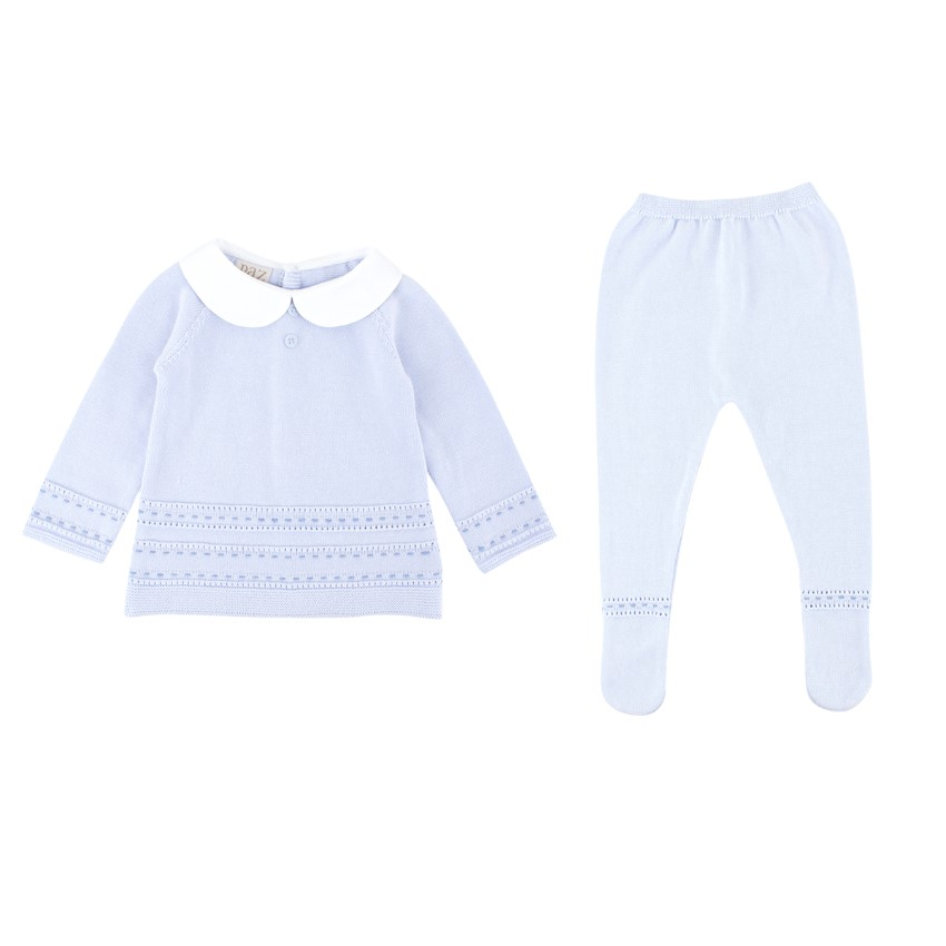 Paz Rodriguez Cotton Baby Blue 9M Top and Trouser Set