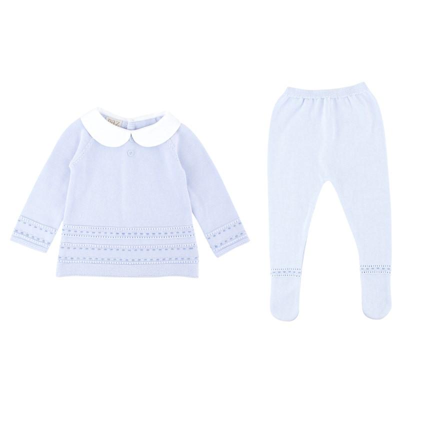 Paz Rodriguez Cotton Baby Blue 9M Top and Trouser Set