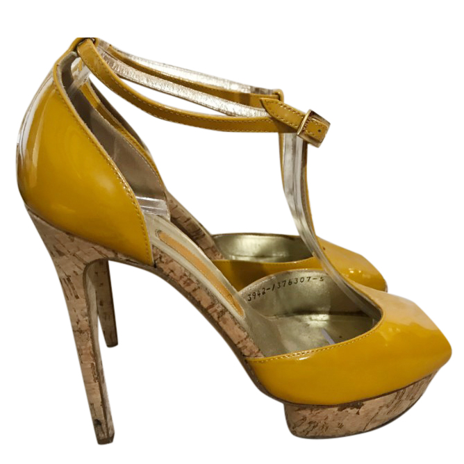 Gina Patent Yellow Platform Sandals