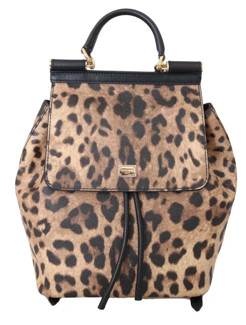 Dolce & Gabbana Leopard Print Miss Sicily Backpack