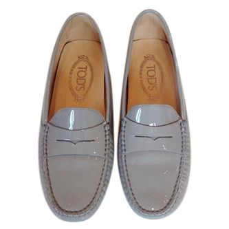 Tod's pale-grey patent leather loafers