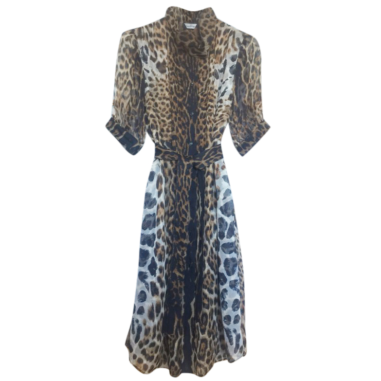 Yves Saint Laurent Leopard Print Chiffon Dress