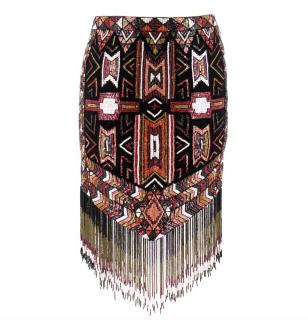 Haute Hippie Aztec Beaded Fringed Skirt
