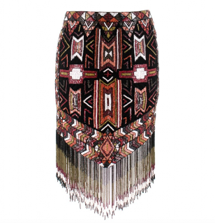 Haute Hippie Aztec Beaded Fringed Skirt