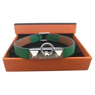 Hermes Green Rivale Leather Bracelet