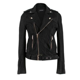 The Kooples Black Leather Biker Jacket