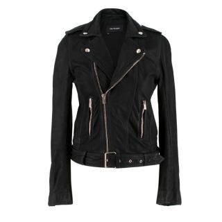 The Kooples Black Leather Biker Jacket