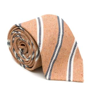 Drake's Salmon Striped Silk & Linen Tie
