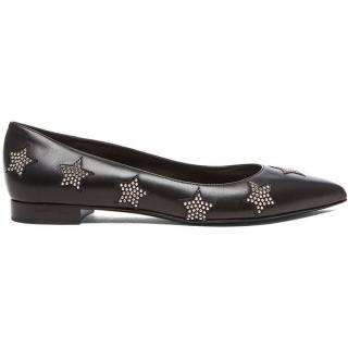 Saint Laurent Star Studded Paris Leather Ballerina Flats