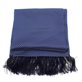 Hardy Amies Blue & White Spotted Silk Scarf