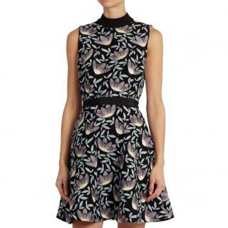 Self Portrait Black Peony Fit & Flare Mini Dress