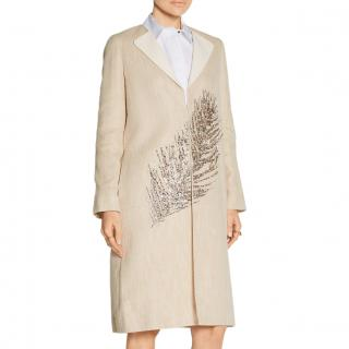 Tory Burch Ange embellished linen and cotton-blend coat