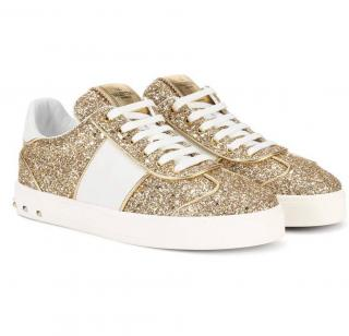 Valentino Fly Crew Sneakers In Gold Glitter