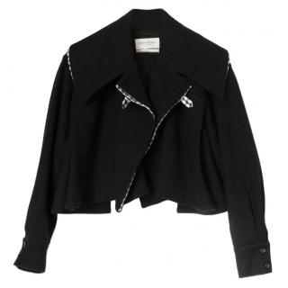 Yves Saint Laurent Black Cropped Gingham Trim Jacket