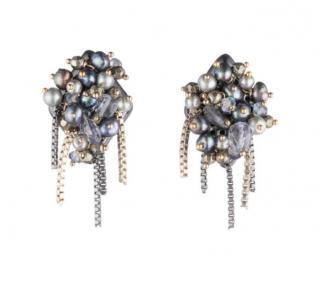Alexis Bittar Vanitas Peacock Faux-Pearl Cluster Earrings