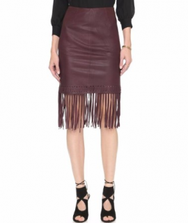 Elizabeth & James Jaxson Burgundy Leather Pencil Skirt