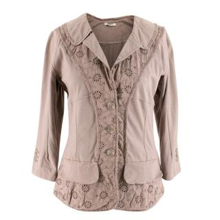 Nina Ricci Khaki BrownFloral Patterned Jacket