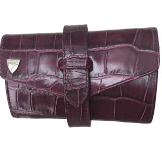 Aspinal crocodile-effect leather jewellery case