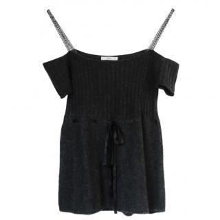 Prada chain-strap cold-shoulder cashmere top